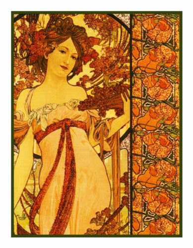 Autumn Champagne by Alphonse Mucha Counted Cross Stitch  Pattern - Orenco Originals LLC