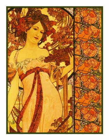 Autumn Champagne by Alphonse Mucha Counted Cross Stitch or Counted Needlepoint Pattern
