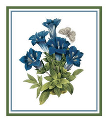 Gentian Flower Inspired by Pierre-Joseph Redoute Counted Cross Stitch or Counted Needlepoint Pattern