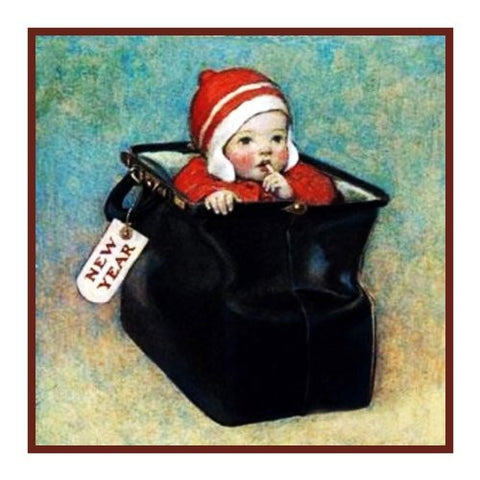 Cute New Years Baby in a Bag By Jessie Willcox Smith Counted Cross Stitch or Counted Needlepoint Pattern