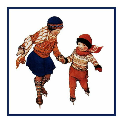Brother And sister Ice Skating By Jessie Willcox Smith Counted Cross Stitch or Counted Needlepoint Pattern