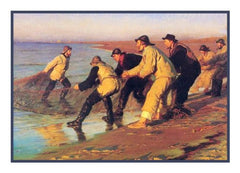 Scandinavian Artist Peder Severin Kroyers painting of Fishermen Pulling Nets Counted Needlepoint Chart