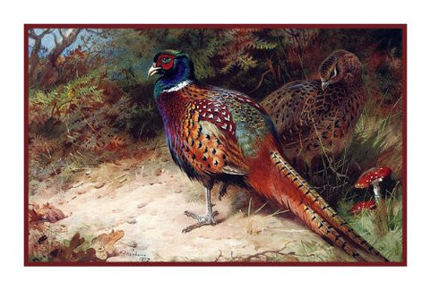 Common Pheasant by Naturalist Archibald Thorburn's Bird Counted Cross Stitch Pattern