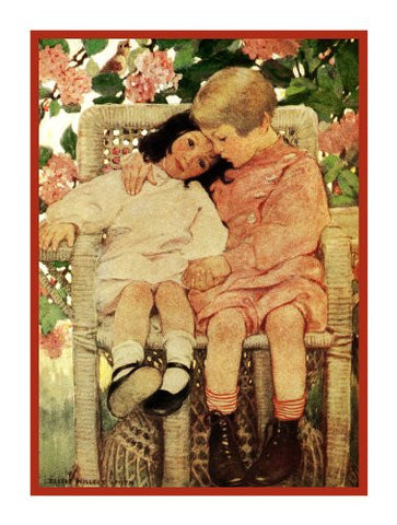 A Hug from Big Sister By Jessie Willcox Smith Counted Cross Stitch or Counted Needlepoint Pattern