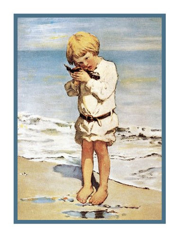 Little Boy and Sea Dreams By Jessie Willcox Smith Counted Cross Stitch Pattern