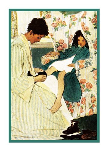Mother Putting on Little Girls Socks By Jessie Willcox Smith Counted Cross Stitch or Counted Needlepoint Pattern