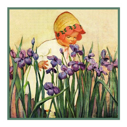 Young Girl Smelling Flowers By Jessie Willcox Smith Counted Cross Stitch or Counted Needlepoint Pattern