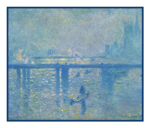 Charing Cross Bridge London in Fog inspired by Claude Monet's impressionist painting Counted Cross Stitch  Pattern - Orenco Originals LLC