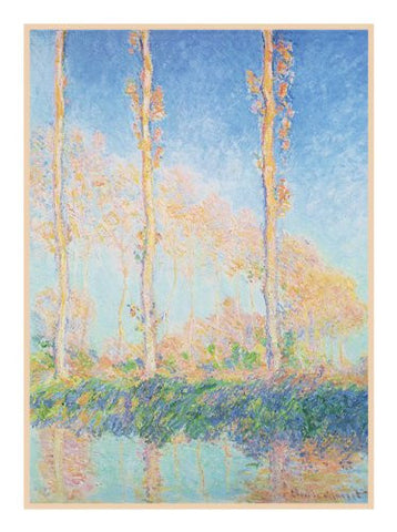 Poplars in Autumn inspired by Claude Monet's impressionist painting Counted Cross Stitch or Counted Needlepoint Pattern