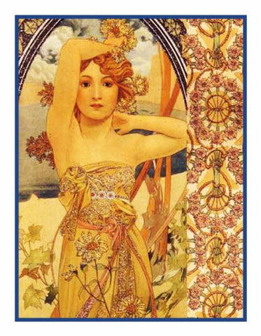 Brightness of Day by Alphonse Mucha Counted Cross Stitch Pattern