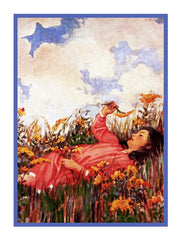 Summery Daydreams Young Girl in Meadow By Jessie Willcox Smith Counted Cross Stitch or Counted Needlepoint Pattern