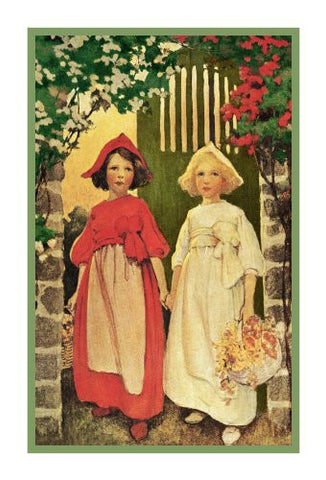 Young Maidens White and Red Roses By Jessie Willcox Smith Counted Cross Stitch Pattern