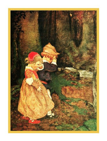 Hansel and Gretel in The Woods By Jessie Willcox Smith Counted Cross Stitch Pattern