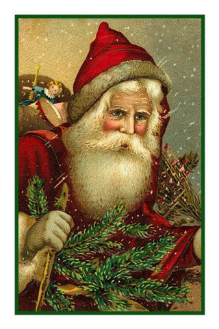 Victorian Father Christmas Santa In a Red Cape, Hat and Tree Counted Cross Stitch Pattern