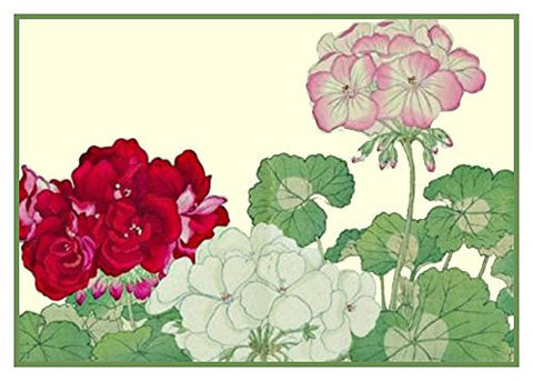 Tanigami Konan Asian Geraniums Flowers Counted Cross Stitch or Counted Needlepoint Pattern