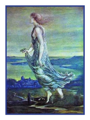 Hesperus and the Evening Star by Arts and Crafts Edward Burne-Jones Counted Cross Stitch or Counted Needlepoint Pattern