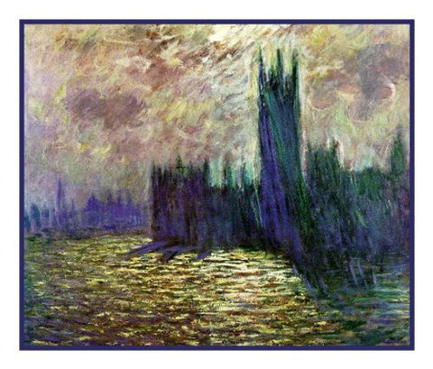 Houses of Parliament inspired by Claude Monet's impressionist painting Counted Cross Stitch Pattern