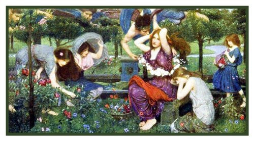 Flora and the Zephyrs inspired by John William Waterhouse Counted Cross Stitch or Counted Needlepoint Pattern