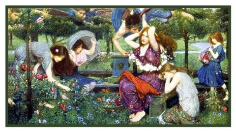 Flora and the Zephyrs inspired by John William Waterhouse Counted Cross Stitch Pattern