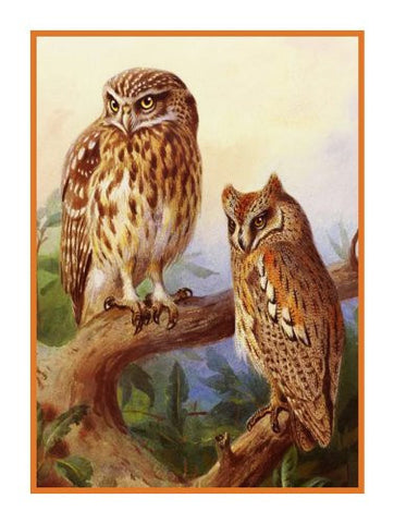 Scops Owls By Naturalist Archibald Thorburn's Birds Counted Cross Stitch Pattern