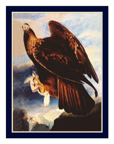 Golden Eagle Bird Illustration by John James Audubon Counted Cross Stitch or Counted Needlepoint Pattern
