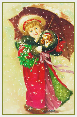 Young Girls Christmas Outfit by Maud Humphrey Bogart Counted Cross Stitch Pattern