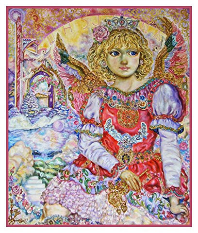Angel with the Key to Heaven inspired by Yumi Sugai Counted Cross Stitch Pattern