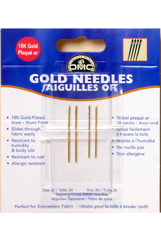 DMC GOLD TAPESTRY NEEDLES SIZE 24 and 26