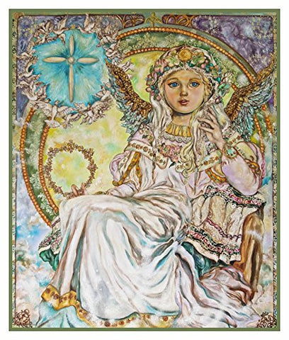 Angel of the Christmas Rose inspired by Yumi Sugai Counted Cross Stitch Pattern
