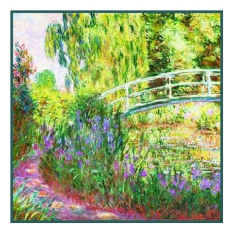The Japanese Bridge inspired by Claude Monet's Impressionist painting Counted Cross Stitch Pattern DIGITAL DOWNLOAD