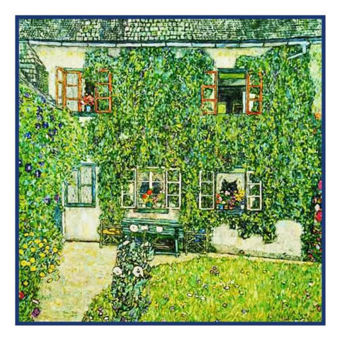 Art Nouveau Gustav Klimt's Forsthaus in Weissenbach Am Attersee Counted Cross Stitch Pattern