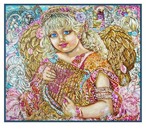 Angel with a Harp inspired by Yumi Sugai Counted Cross Stitch or Counted Needlepoint Pattern