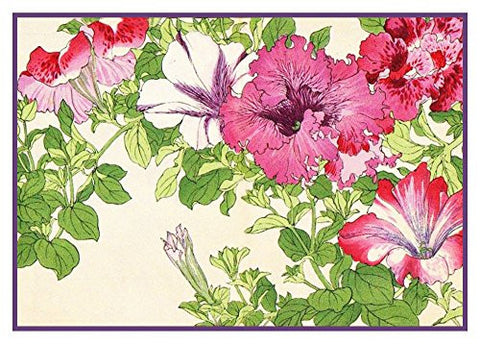 Tanigami Konan Asian Petunia Flowers Counted Cross Stitch or Counted Needlepoint Pattern