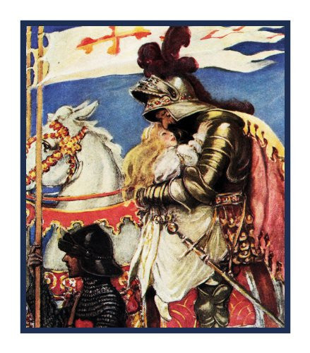 The King Saves Irene From The Princess and The Goblin By Jessie Willcox Smith Counted Cross Stitch or Counted Needlepoint Pattern