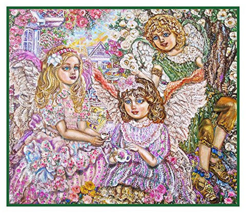 A Tea Party of Angels inpsired by Yumi Sugai Counted Cross Stitch Pattern