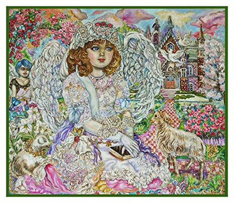 Angel of the Bible inspired by Yumi Sugai Counted Cross Stitch or Counted Needlepoint Pattern