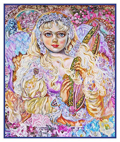 An Angel Playing an Emerald Harp inspired by Yumi Sugai Counted Cross Stitch or Counted Needlepoint Pattern