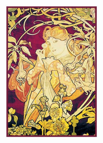 Ivy in Purple by Alphonse Mucha Counted Cross Stitch Pattern