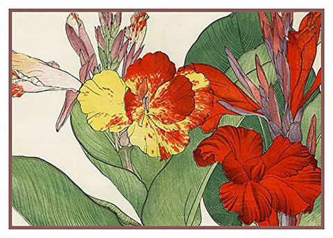 Tanigami Konan Asian Cana Lily Flowers Counted Cross Stitch or Counted Needlepoint Pattern
