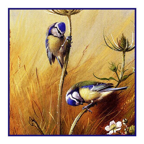 Bluetit Birds on Teasel Detail by Naturalist Archibald Thorburn's Bird Counted Cross Stitch Pattern