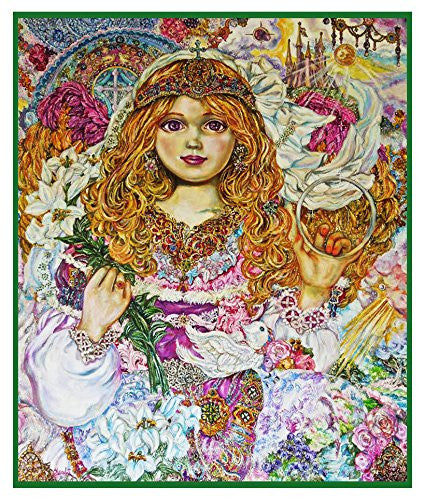 Angel of the Archangel Gabriel inspired by Yumi Sugai Counted Cross Stitch or Counted Needlepoint Pattern