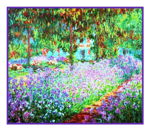 The Artist's Garden in Giverny inspired by Claude Monet's impressionist painting Counted Cross Stitch Pattern