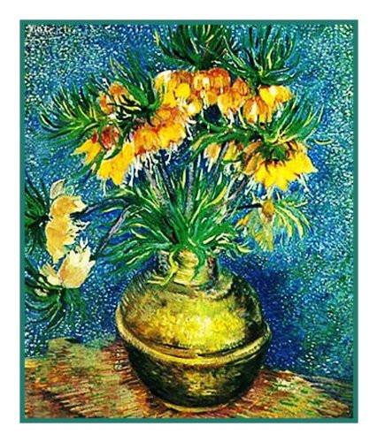 Crown Imperial Fritillaries in Copper Vase inspired by Impressionist Vincent Van Gogh's Painting Counted Cross Stitch  Pattern - Orenco Originals LLC