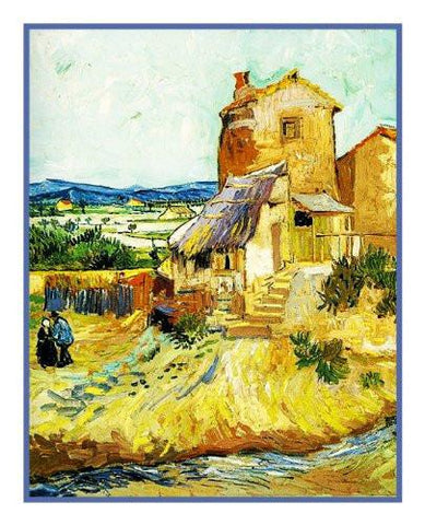 The Old Mill inspired by Impressionist Vincent Van Gogh's Painting Counted Cross Stitch Pattern DIGITAL DOWNLOAD