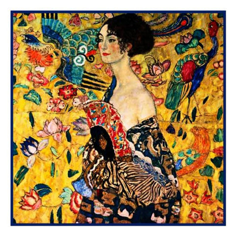 Woman with a Fan by Gustav Klimt Counted Cross Stitch Pattern