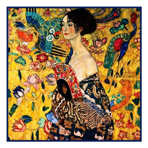Woman with a Fan by Gustav Klimt Counted Cross Stitch Pattern DIGITAL DOWNLOAD