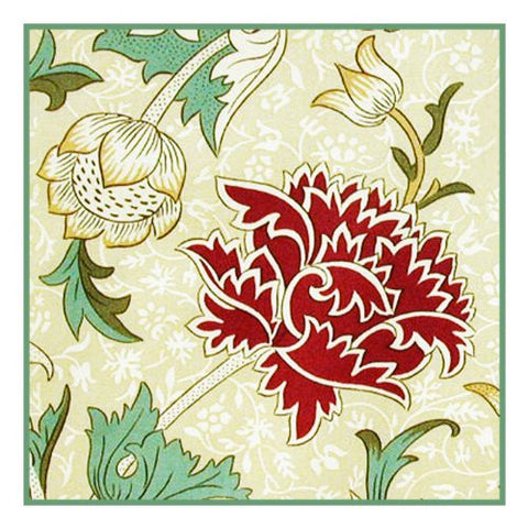 Chrysanthemum Cray by Arts and Crafts Movement Founder William Morris Counted Cross Stitch Pattern