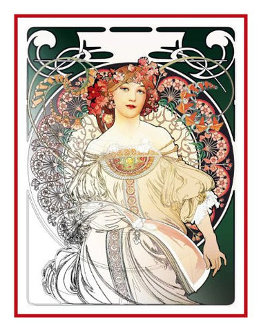 Green Reverie by Alphonse Mucha Counted Cross Stitch Pattern