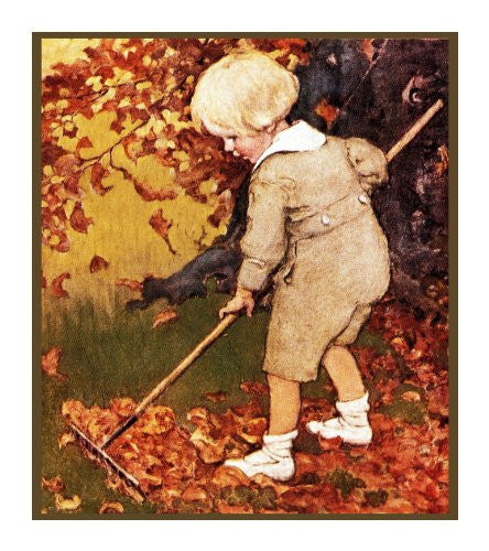 Young Boy Raking Leaves By Jessie Willcox Smith Counted Cross Stitch or Counted Needlepoint Pattern