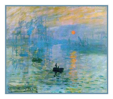 Impression Sunrise inspired by Claude Monet's impressionist painting Counted Cross Stitch Pattern